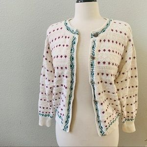 WESTBOUND vintage cream polkadot knitted cardigan